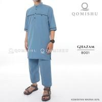 Setelan Koko Pria | Set Baju Muslim Pria | Koko Qomishu | Ghazam B001 - Biru Muda, L