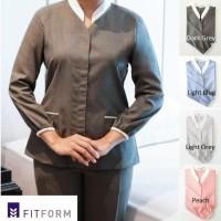 Baju Suster Dark Grey Mandarin Collar Lengan Panjang (Celana Panjang)