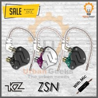 Knowledge Zenith KZ ZSN 1DD+1BA Hybrid HIFI In Ear Earphone With Mic