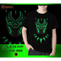 Kaos Anak Laki-Laki Black Panther Glow in the dark Baju Atasan Avenger