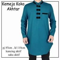 Baju Koko Lengan Panjang promo murah Koko Muslim Akhtar - Putih, M