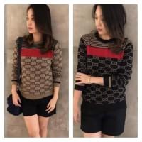 Baju Atasan Rajut Wanita Import Gucci Nagita Sweater Knit Baru Brown