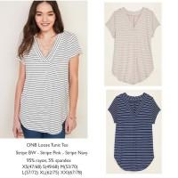 OLD NAVY Loose Tunic Tee Stripe Baju Atasan Kaos Wanita Branded