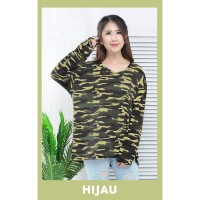 T-shirt/Kaos Wanita Loreng Lengan Panjang/JUMBO/Fit to XXL