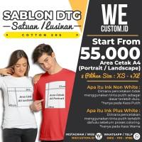 SABLON PRINT CETAK KAOS SATUAN LUSINAN DTG CUSTOM BERKUALITAS - A4 - Putih, XS - M