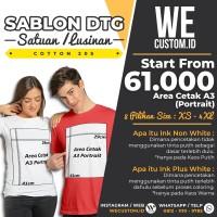 SABLON PRINT CETAK KAOS SATUAN LUSINAN DTG CUSTOM BERKUALITAS - A3 - Putih, XS - M