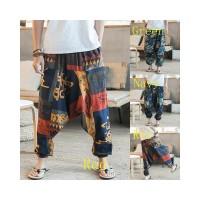 Men s Summer Harem Ethnic Print Retro Baggy Pants Trousers