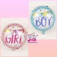 Balon Foil Bulat Baby Boy/Girl/Balon Baby Shower/Welcome Baby