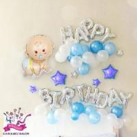 HAPPY BIRTHDAY BABY DEKORASI SET/DEKORASI BABY SHOWER/BALON FOIL BABY