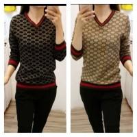 Baju Atasan Rajut Wanita Import Nagita Gucci Sweater Knit Brown Model