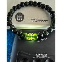 Gelang Black Jade Aceh Bulat Full Tembus Size 8