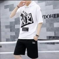 Baju Cowok Pria Fashion Hoodie Lengan Pendek Nron Hodie Sweater Kaos