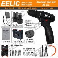 EELIC Mesin Bor Baterai Cordless 10mm Dual Speed - Bor Listrik DC220S