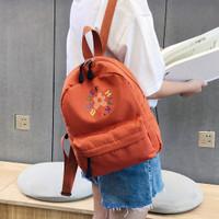 tas ransel sunflower kanvas fashion wanita backpack lucu imut ransel - Orange
