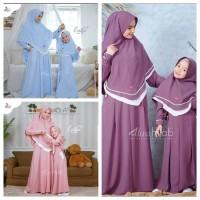 ZALFA COUPLE Baju Couple Ibu Dan Anak Perempuan Muslim Gamis (Khimar)