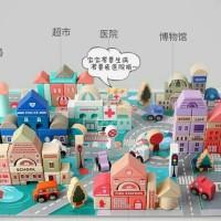 city building block balok mainan anak kota susun blok kayu anti gadget