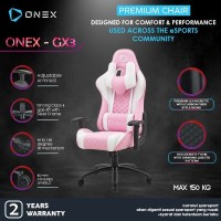 ONEX GX3 Premium Quality Gaming Chair Kursi - Pink White