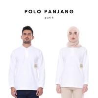 Kaos Polo Shirt Unisex Panjang warna Putih uk M, L, XL, XXL - M