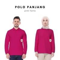 Kaos Polo Shirt Unisex Panjang warna Pink Fanta uk M, L, XL, XXL