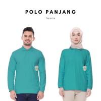 Kaos Polo Shirt Unisex Panjang warna Hijau Tosca uk M, L, XL, XXL