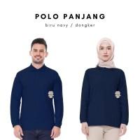 Kaos Polo Shirt Unisex Panjang warna Biru Navy uk M, L, XL, XXL