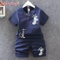 Setelan Kaos T-Shirt Anak Laki-laki Lengan Pendek Gaya Cina + Celana