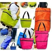Foldable Shopping Trolley Bag - Tas Trolly Belanja Bisa Di Lipat - Merah