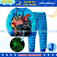 Baju Tidur Piyama Anak Laki JW 210 Glow In the Dark Justice League