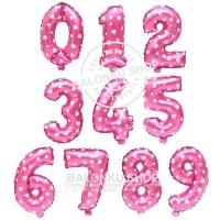 Balon Foil Angka Jumbo Pink 80 Cm / Balon Angka Jumbo 80cm