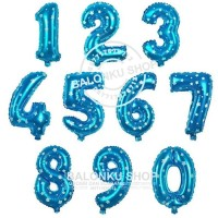 Balon Foil Angka Jumbo Biru 80 Cm / Balon Angka Jumbo 80cm