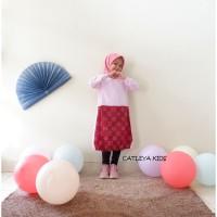 Baju Tunik Batik Anak Marigold Series Pink - Maroon motif bata