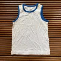 Baju Kaos Anak Cowok Tangan Buntung Putih Biru - Size 110
