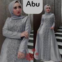 Gamis pesta jumbo linda abu silver xxl baju muslim murah mx jum vt