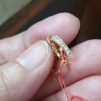 Anting jepit balok listring mata putih emas asli 700 70% 22 18k 1gram