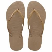 Havaianas Slim Glitter Fc 3581-Rose Gold - Sandal Wanita - Perak Emas, 37-38