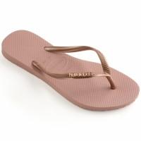 Havaianas Slim Logo Metallic 3655-Rose Nude - Sandal Wanita - Merah Muda, 37-38