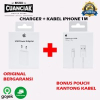 Kabel Dan Charger Iphone Original Iphone 7 8 Plus X 11 Pro - 1 Set Kabel 1m