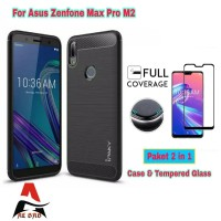 Soft Case ASUS ZENFONE MAX PRO M2 Carbon Free Tempered Glass Warna
