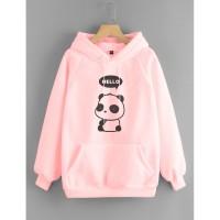 Vallenca Jaket Hoodie Panda Heloo Cute Warna Pink
