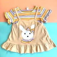 Baju Dress Anak Perempuan Import Katun Adem Fashion Bayi Perempuan 42 - Krem, S