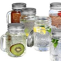 Gelas Drinking Jar Mug (Mason) : 450ml Dengan Tutup Aluminum SINGLE