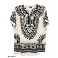 Atasan Unisex Baju Bali Motif Dashiki Hitam Putih