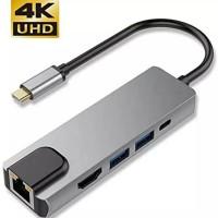 Kabel Converter Adaptor 4K 5 in 1 Type C to HDMI/2x USB 3.0/LAN/PD