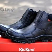 Sepatu Boots Kickers Safety Hitam Kulit Asli Boot Pria Model Nike