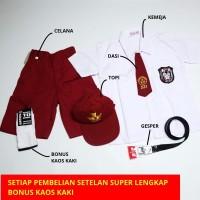 Setelan Super Lengkap Seragam Sekolah SD Pendek Cowok - Topi Merah, KELAS 1