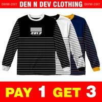 Kaos Lengan Panjang Pria Keren- Baju Trend Streetwear Laki Promo Murah - M