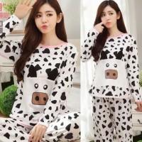 Baju Tidur Setelan Wanita Bahan Kaos / Piyama Motif Sapi Hitam Putih