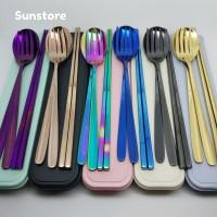 Set 4 Pcs Sendok Garpu Sumpit Stainless Korea Plus Kotak Sendok Travel