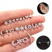Piercing stainless earring zircon Tragus 1-10