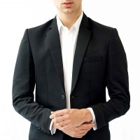 Jas Pria Slim Fit Suit Blazer Formal Hitam